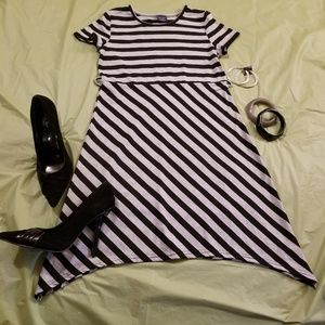 Faded glory gray and black stripe dress